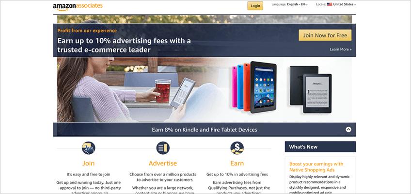 Amazon Associates homepage