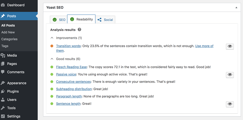 Yoast readability checker